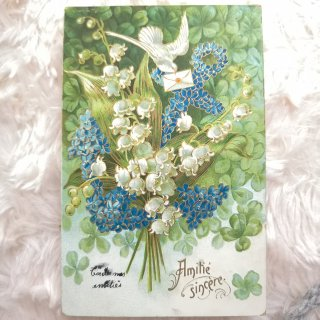 すずらんと忘れな草と白鳩のポストカード【普通郵便送料無料】