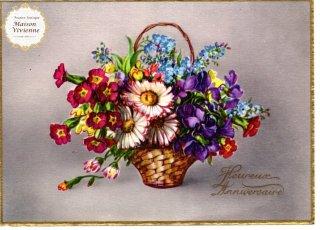 【デッドストックにつき未使用】フランスアンティーク 忘れな草とマーガレット、ナデシコとすみれの花籠のポストカード【普通郵便送料無料】