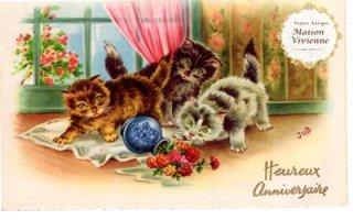 【未使用】フランスアンティーク ポストカード 花瓶を倒してしまった子猫たち【普通郵便送料無料】