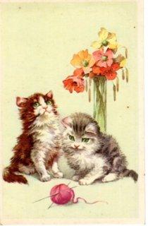 フランスアンティーク ポストカード 毛糸だまを見つめる子猫とけしの花【普通郵便送料無料】