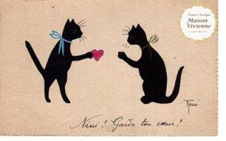フランスアンティーク ポストカード ハートをプレゼントする猫さん【普通郵便送料無料】