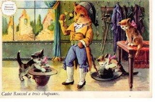 【未使用】フランスアンティーク ポストカード 長靴を履いた猫と子猫たち【普通郵便送料無料】