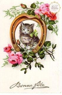 【未使用】フランスアンティーク ポストカード ふわふわの子猫ちゃんと馬蹄と薔薇【普通郵便送料無料】