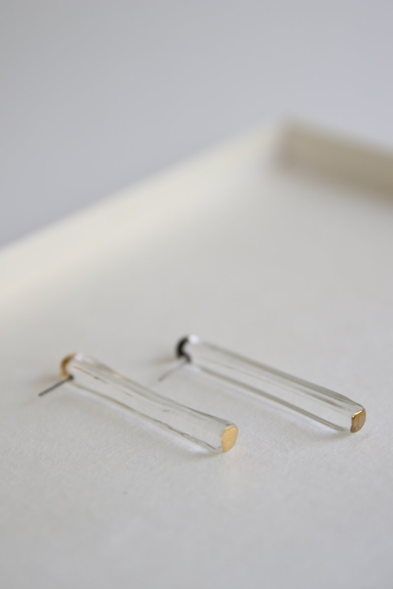 stick earring|gold