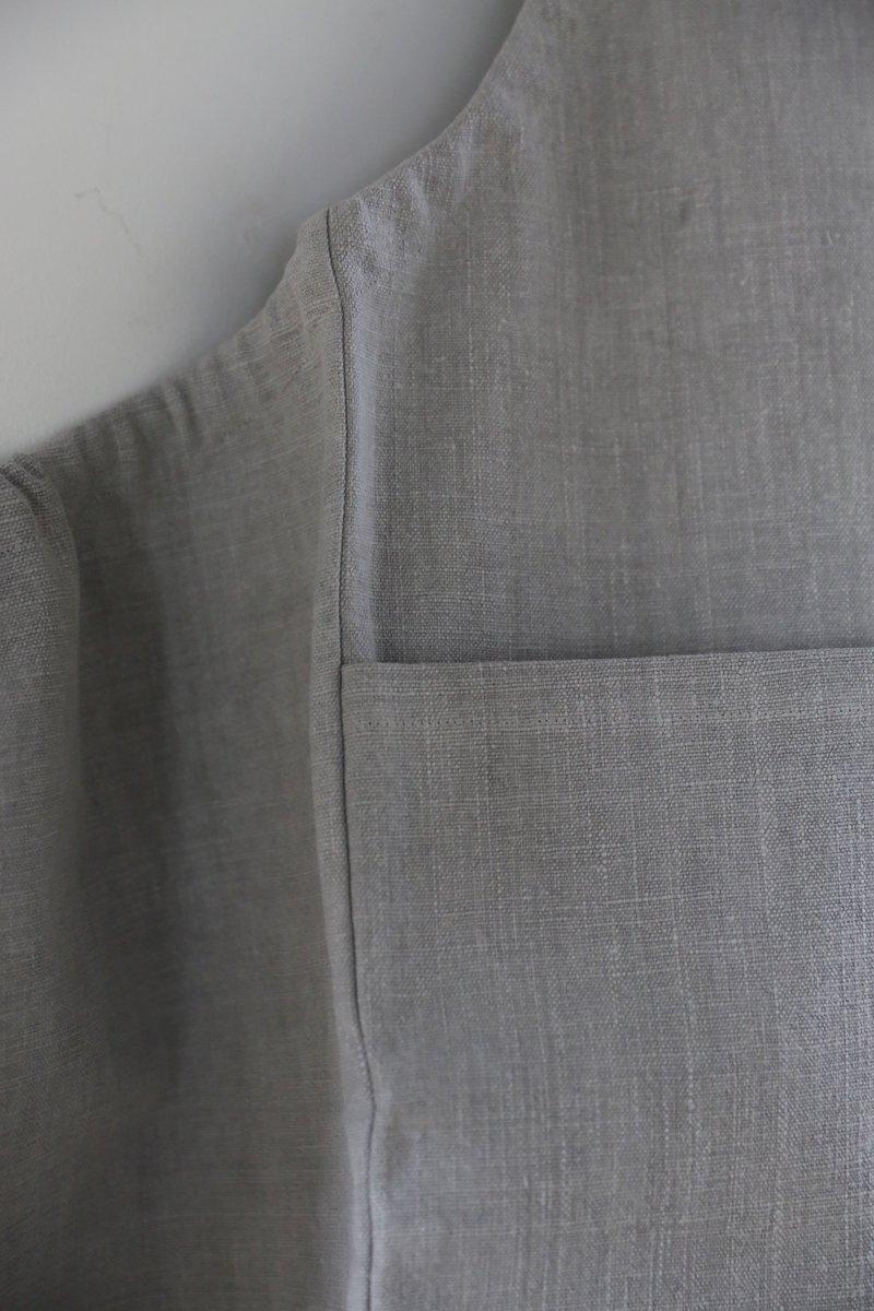 手織り綿布エプロン|墨染め淡