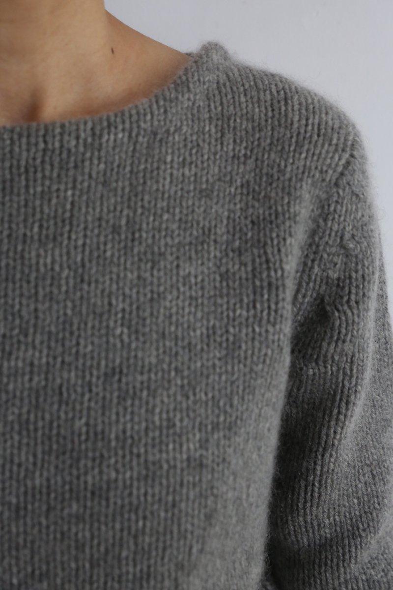 Yak Boat neck Sweater|gray