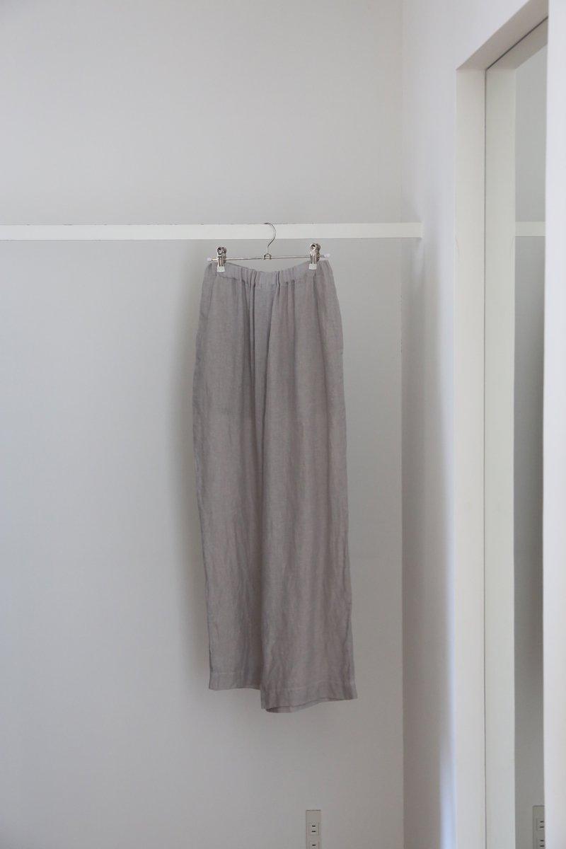 60/1リネンドビー Wide pants|light gray