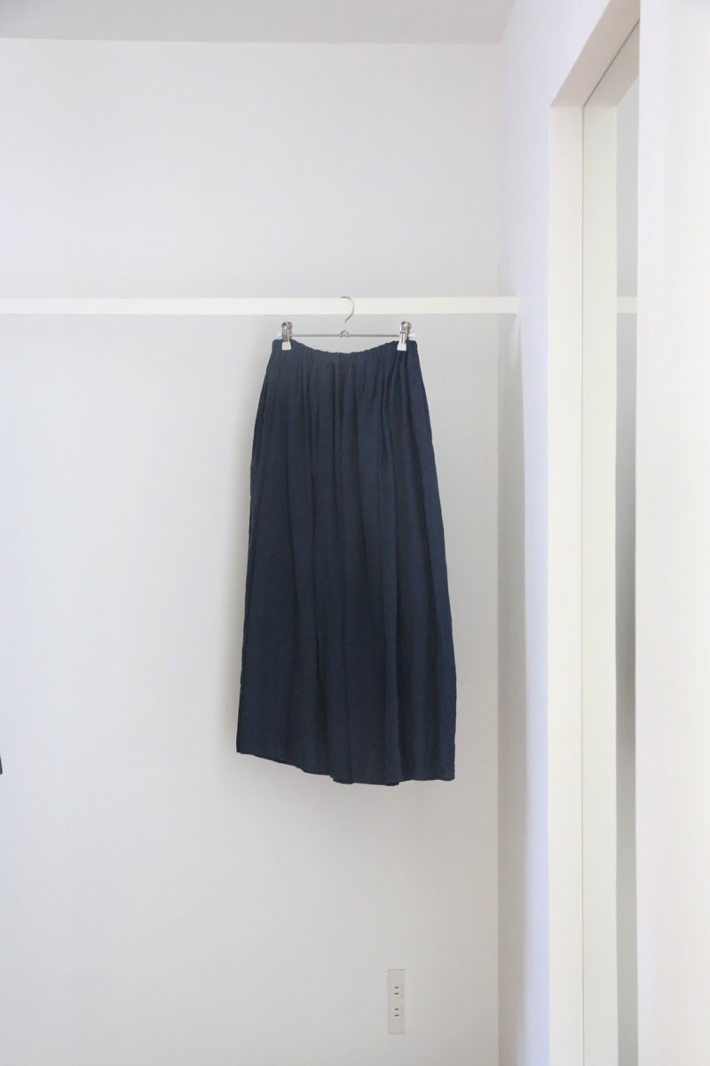 80/1リネン gathered skirt|dark turquoise