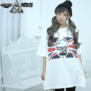 GOD SAVE THE MONSTER KIDS Tシャツ ホワイト 5.6oz(500101) XXL モンスターキッズ×プリントアンドブレイン コラボT