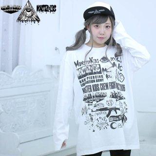 モンスターキッズストア ロゴ 長袖Tシャツ ホワイト 5.6oz(501002) XL モンスターキッズ×プリントアンドブレイン コラボT