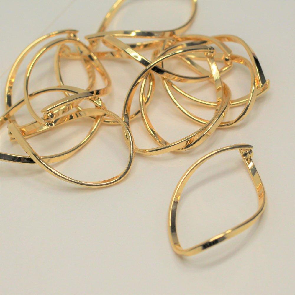 真鍮製ツイストメタルパーツ カン付き ゴールド 2個