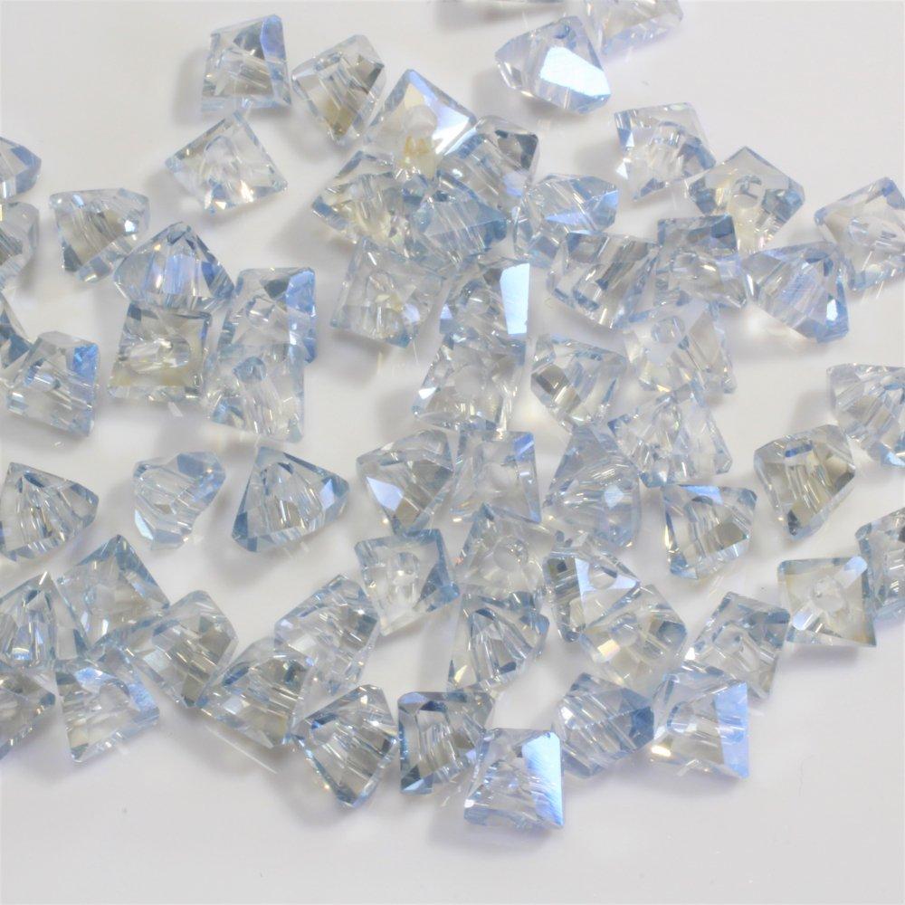 ガラスビーズ 電気メッキ トライアングル ライトブルー6*5 50個