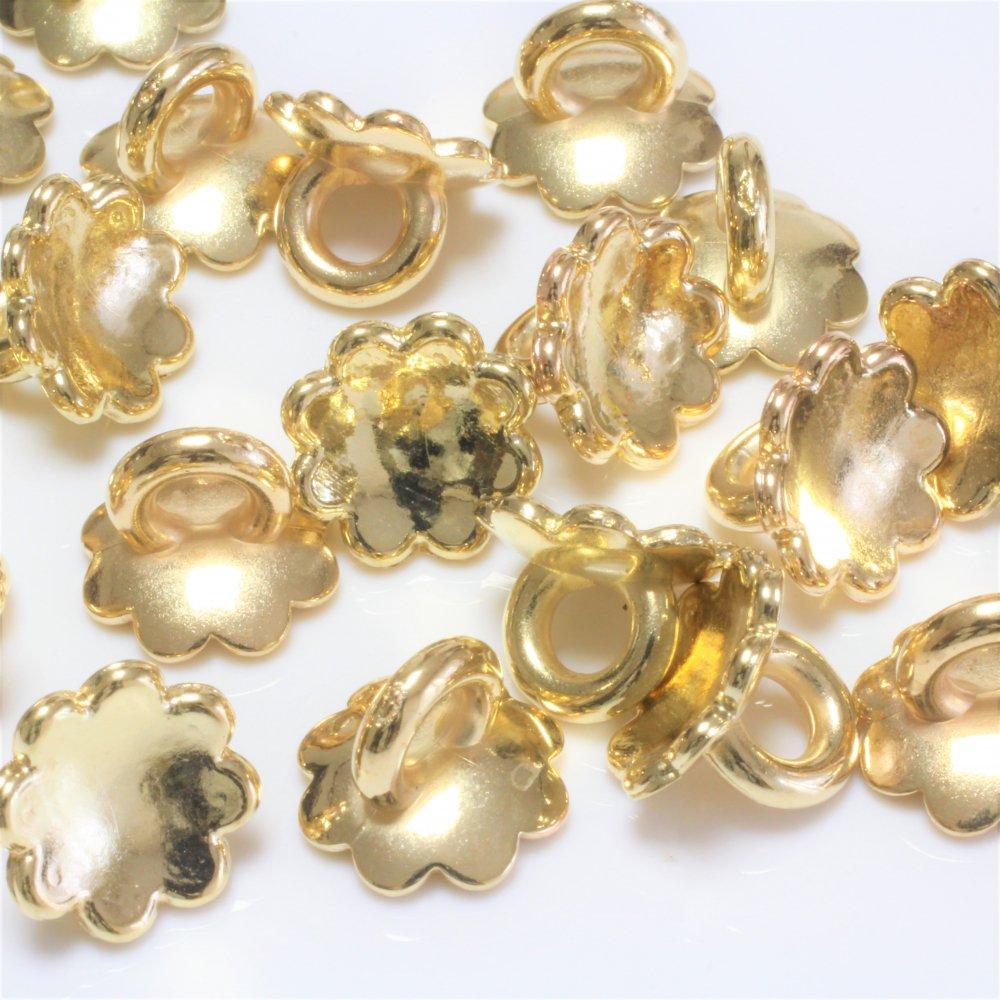 ガラスドームキャップ フラワー カン付き ゴールド 12個