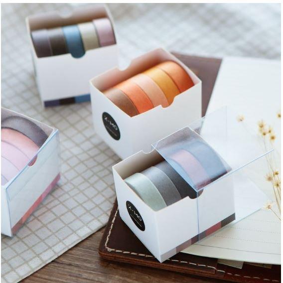 単色マスキングテープ 5ピースセット【全9パターン】