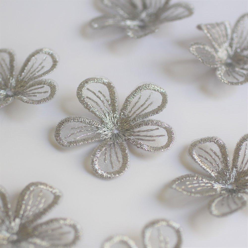 オーガンジー刺繍 花 グレー 2個