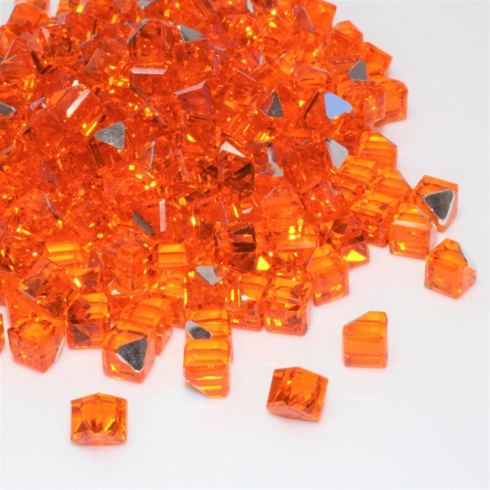 ガラスキューブジュエリー ビビットオレンジ 10個