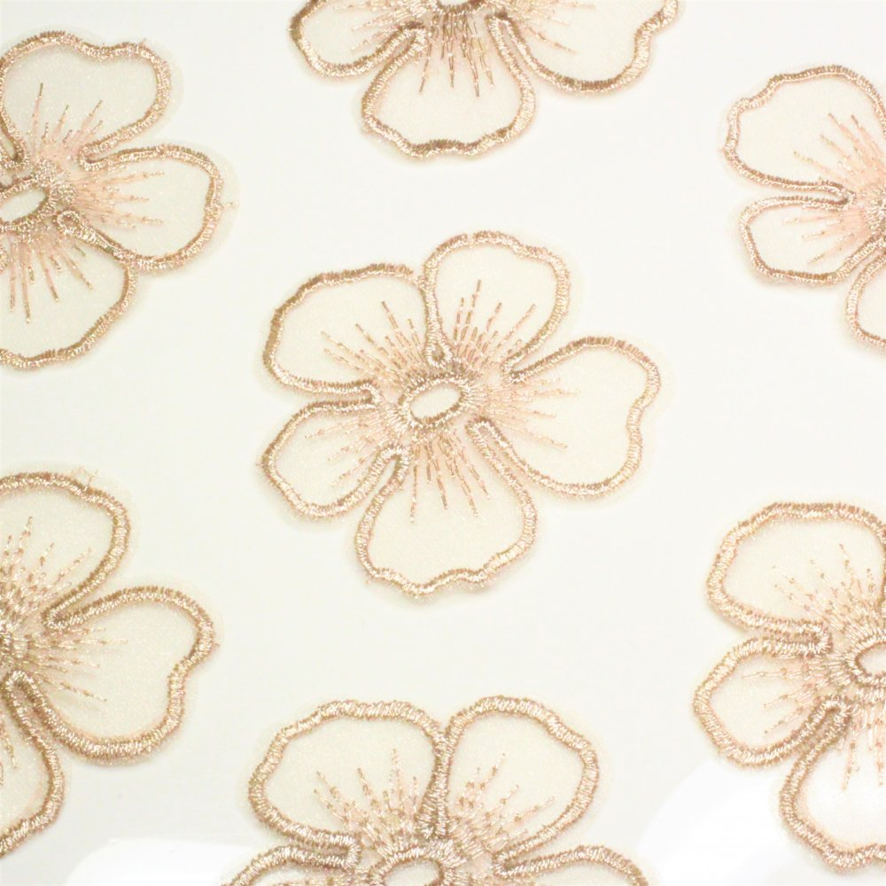 オーガンジー刺繍 花 アンティークピンク 2個