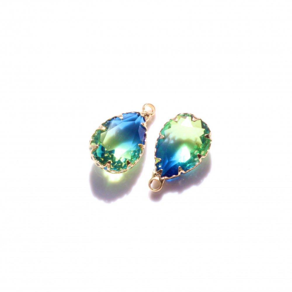 ガラスストーンドロップチャーム グラデーションカラー ブルーライトグリーン 3個