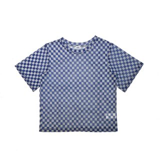 panel tulle T shirt (blue)