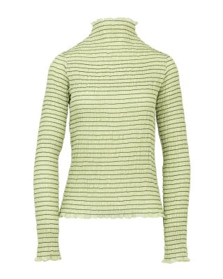 shirring high necked tops (lime)