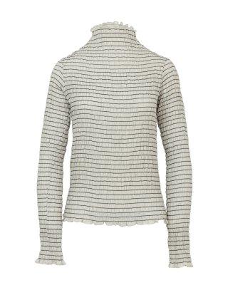 shirring high necked tops (beige)