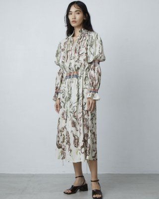 water print smocking dress (beige)