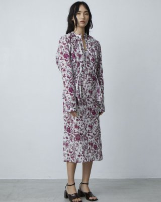 3D flower print camisole dress (purple)