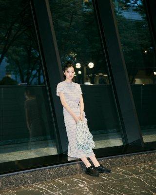 shirring long dress (khaki)