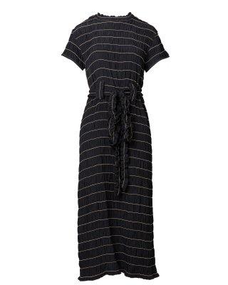 shirring long dress (black)