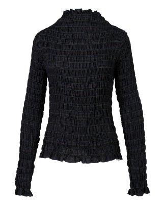 shirring high neck tops (black)