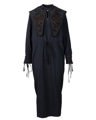 ribbon emb dress (black)