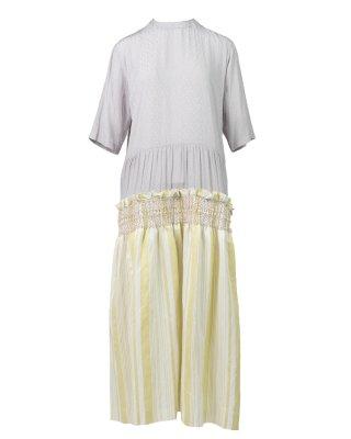 stripe smocking dress (yellow)