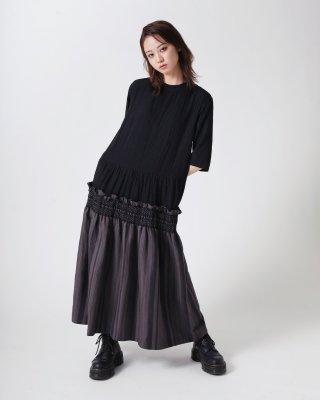 stripe smocking dress (black)