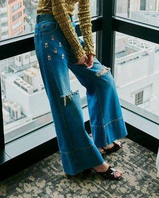 flower emb crash denim pants (indigo)