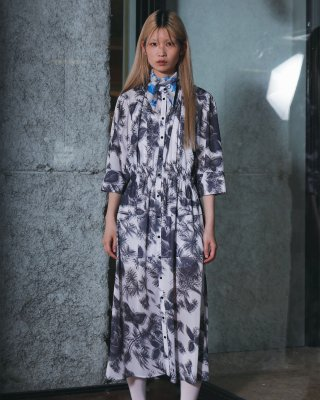 3D botanical print dress (navy)