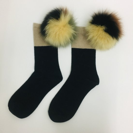 Realfur velvet middle sox / women