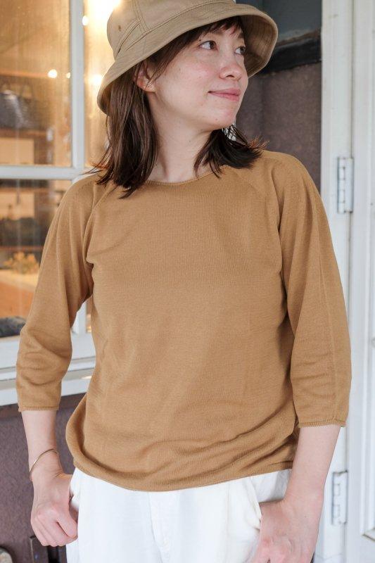 F/style エフスタイル  ホールガーメントの綿ニット 七分袖