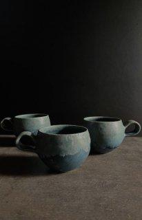 丸マグカップ 青の釉景