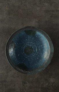 青の釉景皿