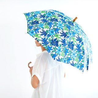 琉球紅型かさ(晴雨天兼用)青・花柄【沖縄県/BLANC JUJU】