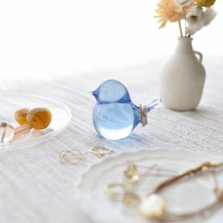 幸せの蒼いとりさん 中 庵治石ガラス/瀬戸内ブルー/Aji Glass【香川県/Rie Glass Garden】