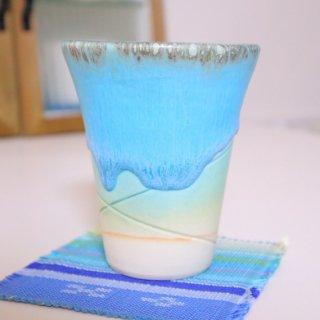 【8月末ごろ入荷予定】予約受付中:うるまブルー フリーカップ【沖縄県/うるま陶器】