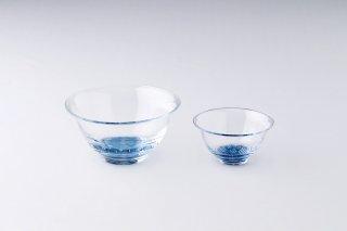 【青森県/白神ガラス工房】こぎん硝子 小鉢+中鉢セット(ガラスボウル)