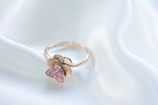 パンジー pansy K18 ピンクサファイア ダイヤモンド リング