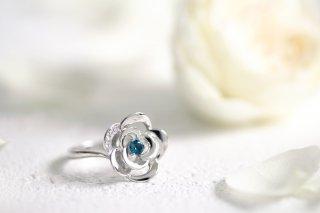 Blue Rose Pt  トパーズ ダイヤモンドリング