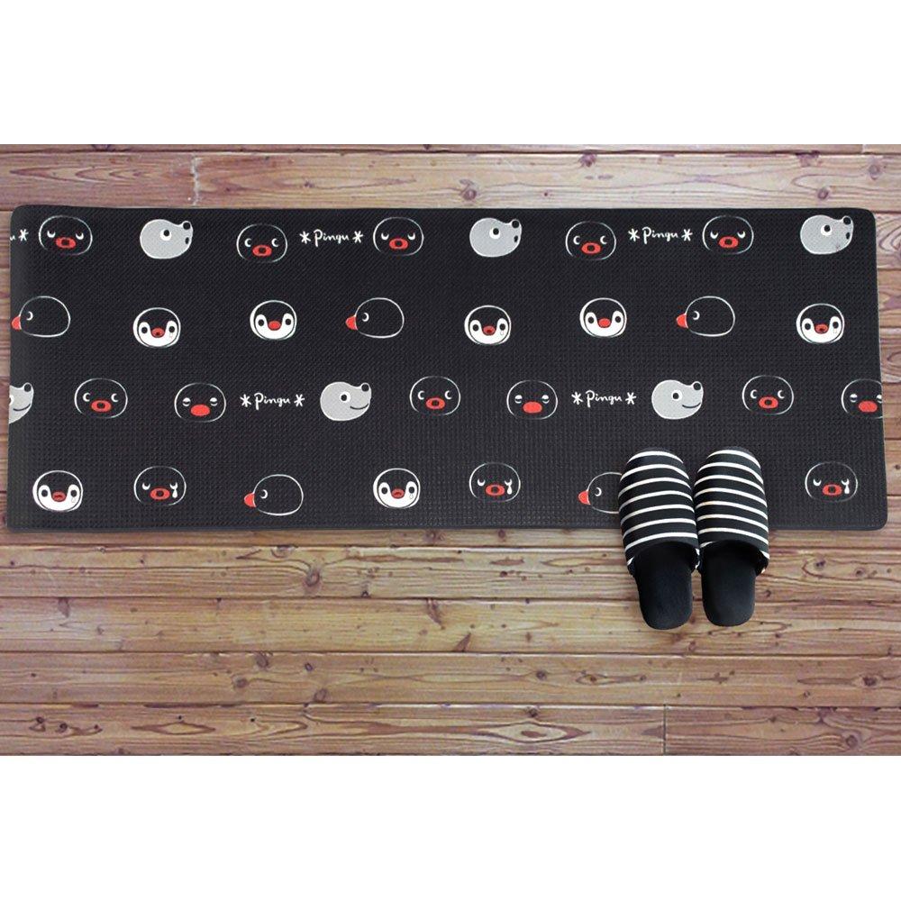 ピングー フェイスリピートキッチンマット(M)ブラック 45×120cm 716305 PG