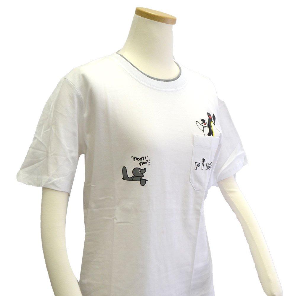 ピングー <img class='new_mark_img1' src='https://img.shop-pro.jp/img/new/icons11.gif' style='border:none;display:inline;margin:0px;padding:0px;width:auto;' />天竺 ポケット付半袖Tシャツ (ホワイト)M PG1182-506 PG