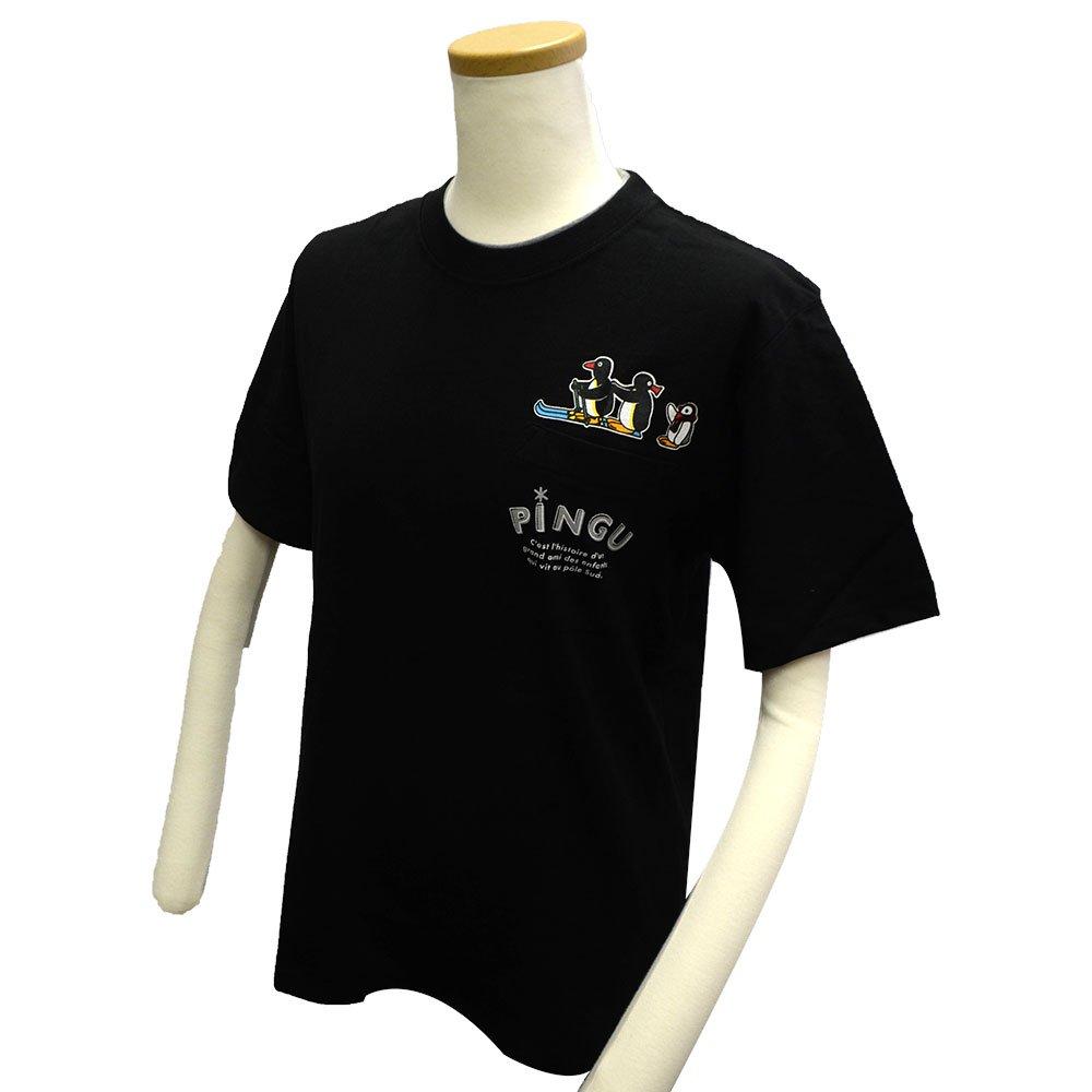 ピングー <img class='new_mark_img1' src='https://img.shop-pro.jp/img/new/icons11.gif' style='border:none;display:inline;margin:0px;padding:0px;width:auto;' />天竺 ポケット付半袖Tシャツ (ブラック)L PG1182-506 PG