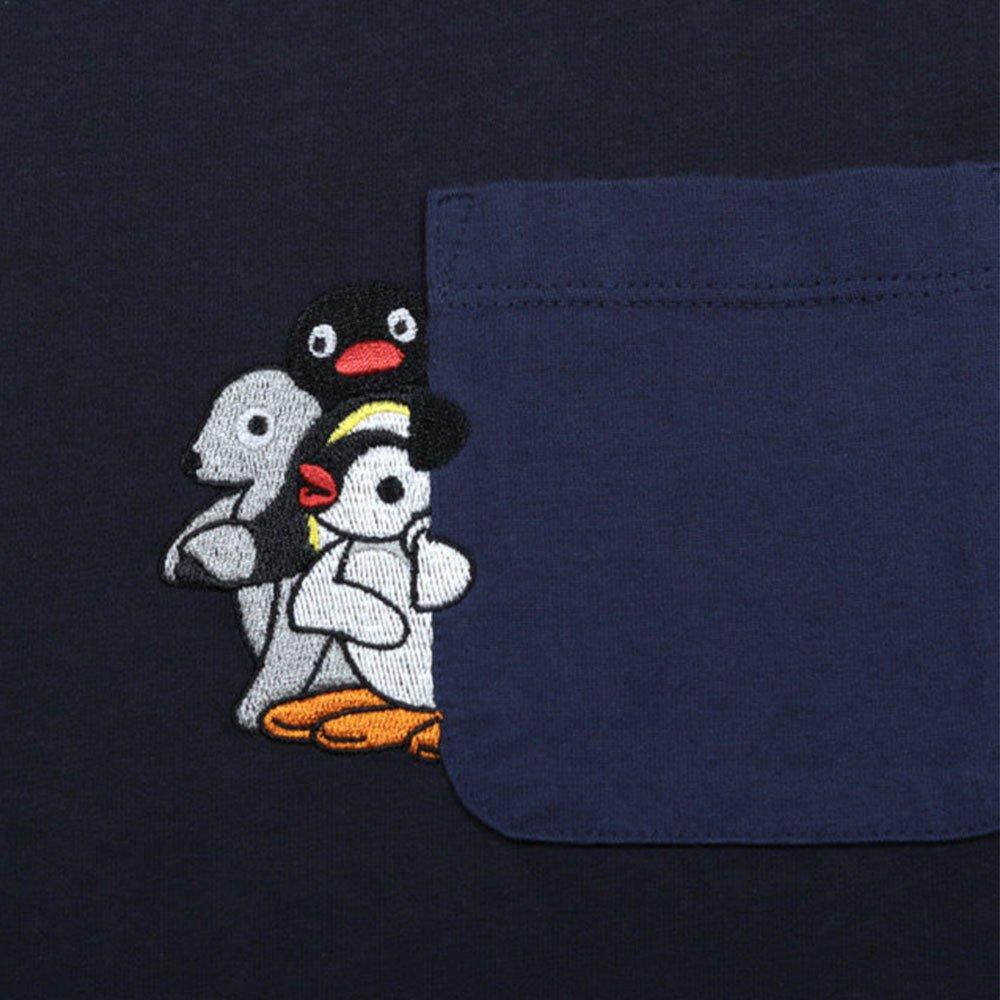 ピングー <img class='new_mark_img1' src='https://img.shop-pro.jp/img/new/icons11.gif' style='border:none;display:inline;margin:0px;padding:0px;width:auto;' />Tシャツ (ピングーポケット)ネイビー M 018003023 PG