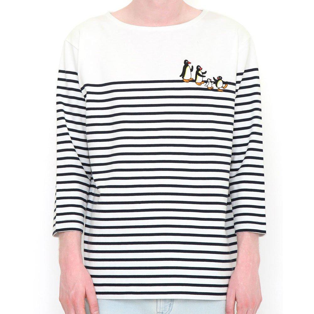 ピングー <img class='new_mark_img1' src='https://img.shop-pro.jp/img/new/icons11.gif' style='border:none;display:inline;margin:0px;padding:0px;width:auto;' />7分丈Tシャツ (ファミリーボーダー)ホワイト XL 008000998 PG